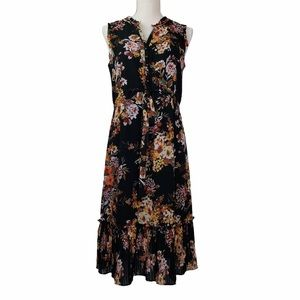 A New Day Floral Knife Pleat Hem Midi Dress  VGC